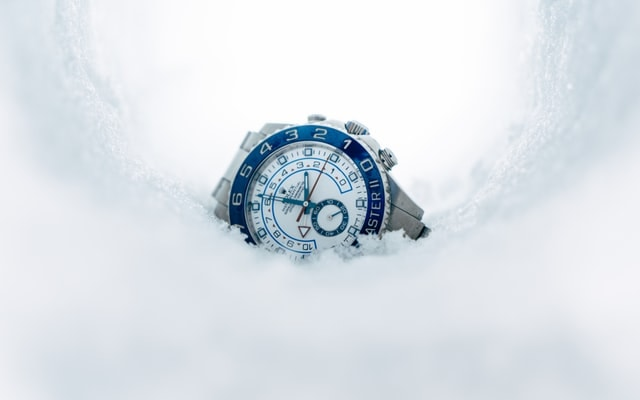 Silver Chronograph Watch On Snow