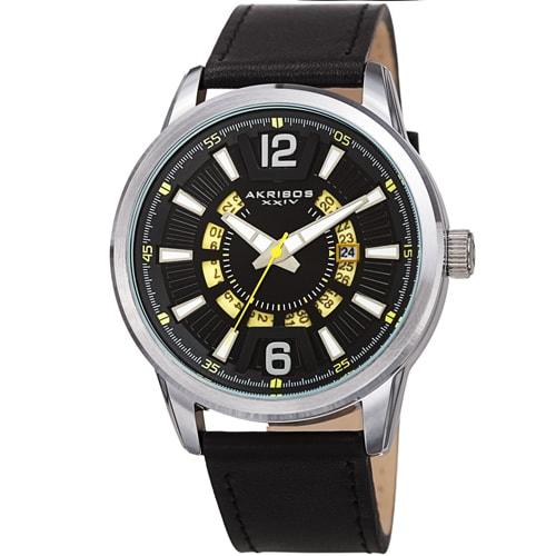 MENS SUNRAY DIAL DATE WHEEL LEATHER – AK1079